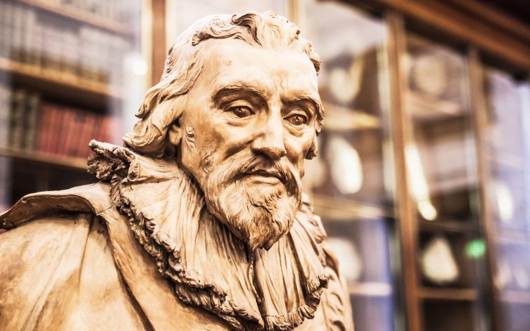 Sir Robert Bruce Cotton sculpture from the Enlightenment Gallery. His collection of documents formed the basis of the British Museum. English Literature Tours