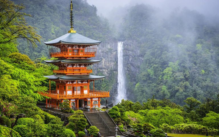 Pagoda of Seigantoji Temple and Nachi Waterfall Part of ancient Komani Kodo Religious Education Tour Japanese History Tour Australia and its Asian Neighbours Cross Curriculum Priorities