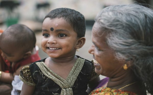 Little girl and grandmother Community Service Learning Tour India