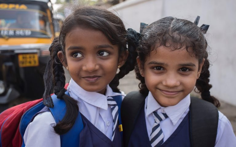 Two young girls Community Service Learning Tour India