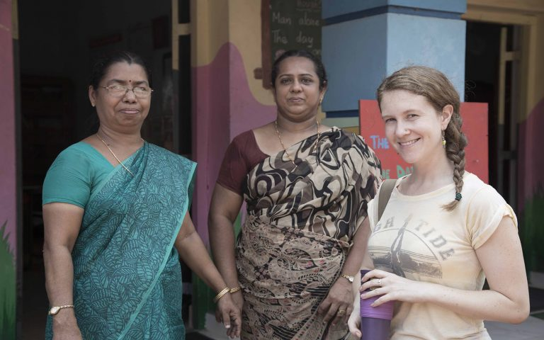 With local women Community Service Learning Tour India