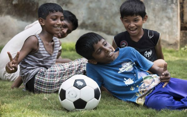 Boys with Soccer Ball Community Service Learning Tour India
