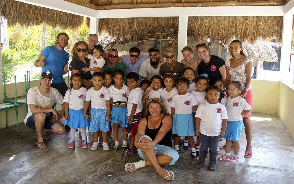 With the local students Marine Awareness Service Learning Tour Mexico