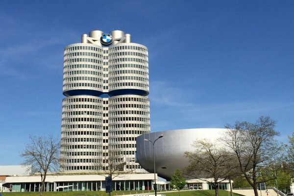 Outside BMW World's iconic towers