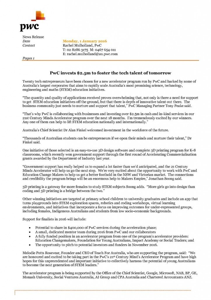 PWC News Release