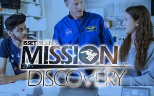 Students talking to NASA employee with Mission Discovery logo over the top